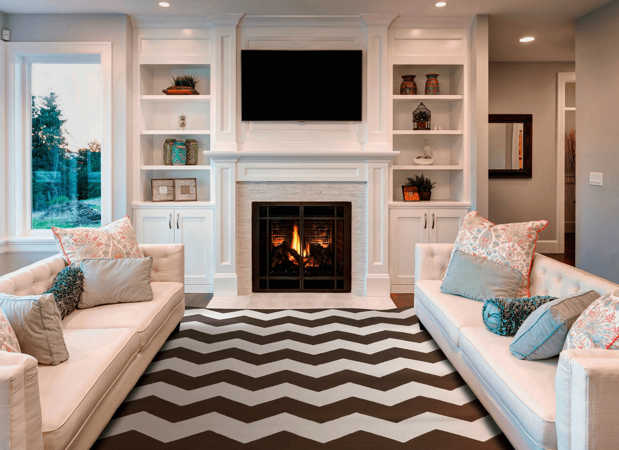 Modern narrow fireplace covered