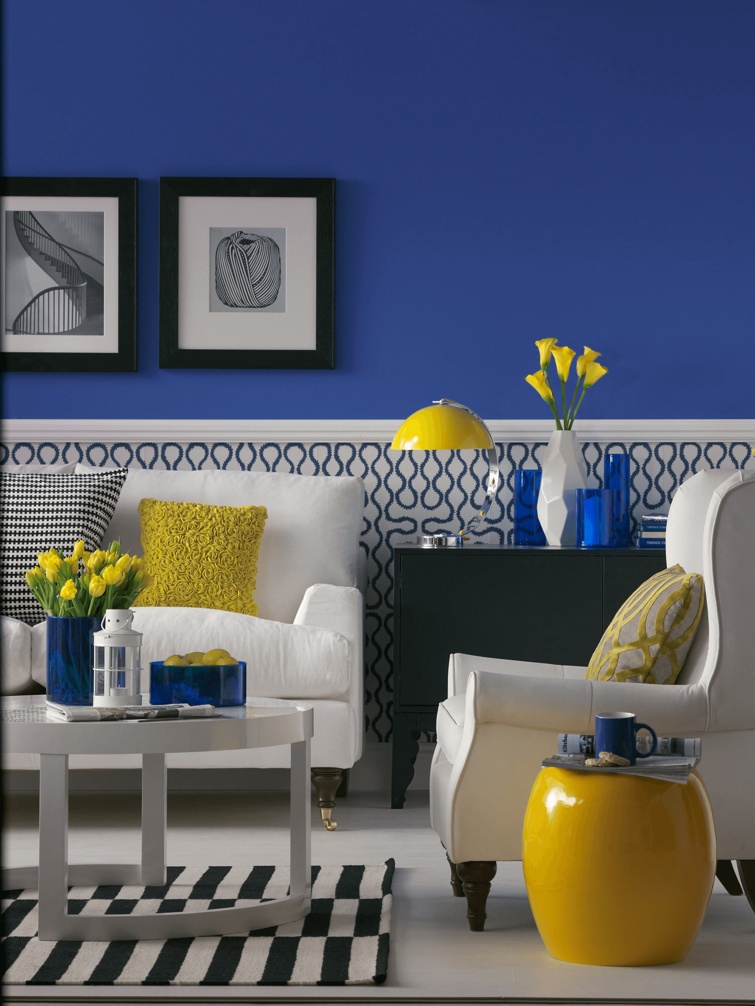Mustard yellow and blue living room