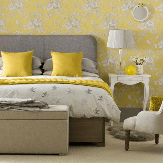 Mustard yellow bedroom wallpaper