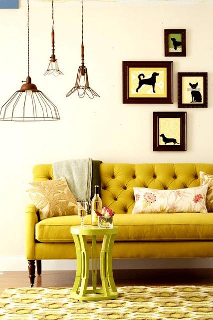 Mustard yellow living room decor ideas