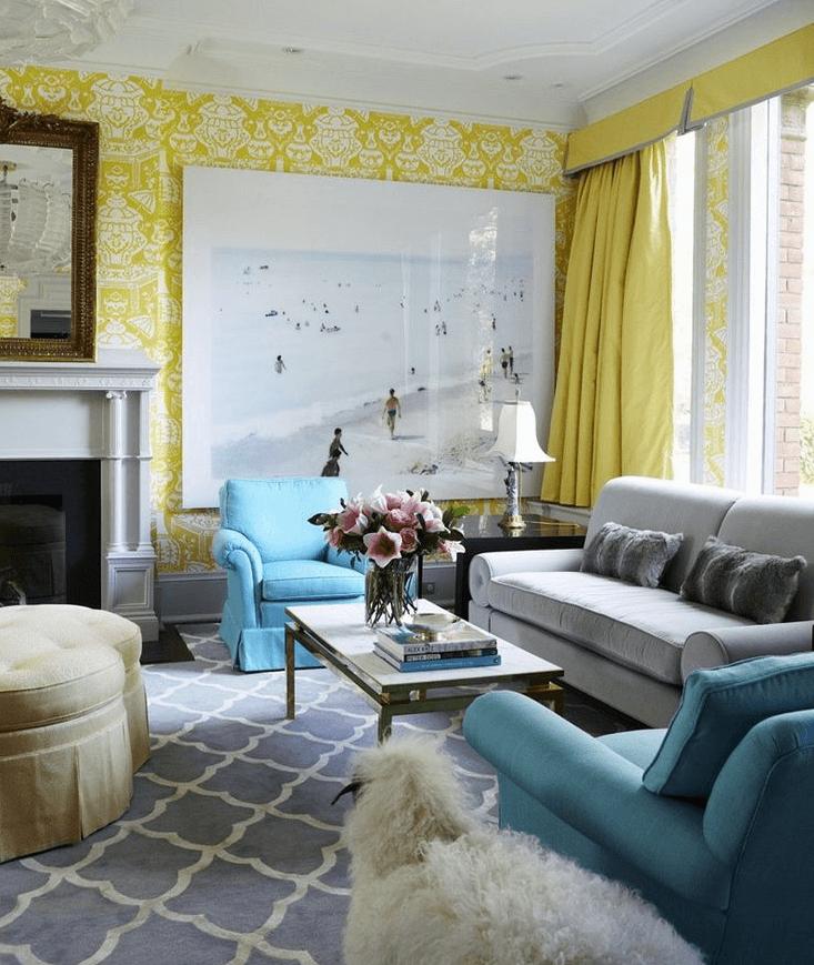 Mustard yellow living room wallpaper