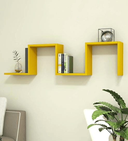 Mustard yellow shelves living room decor ideas