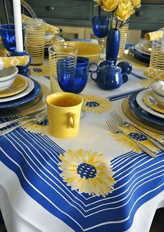 Mustard yellow table setting
