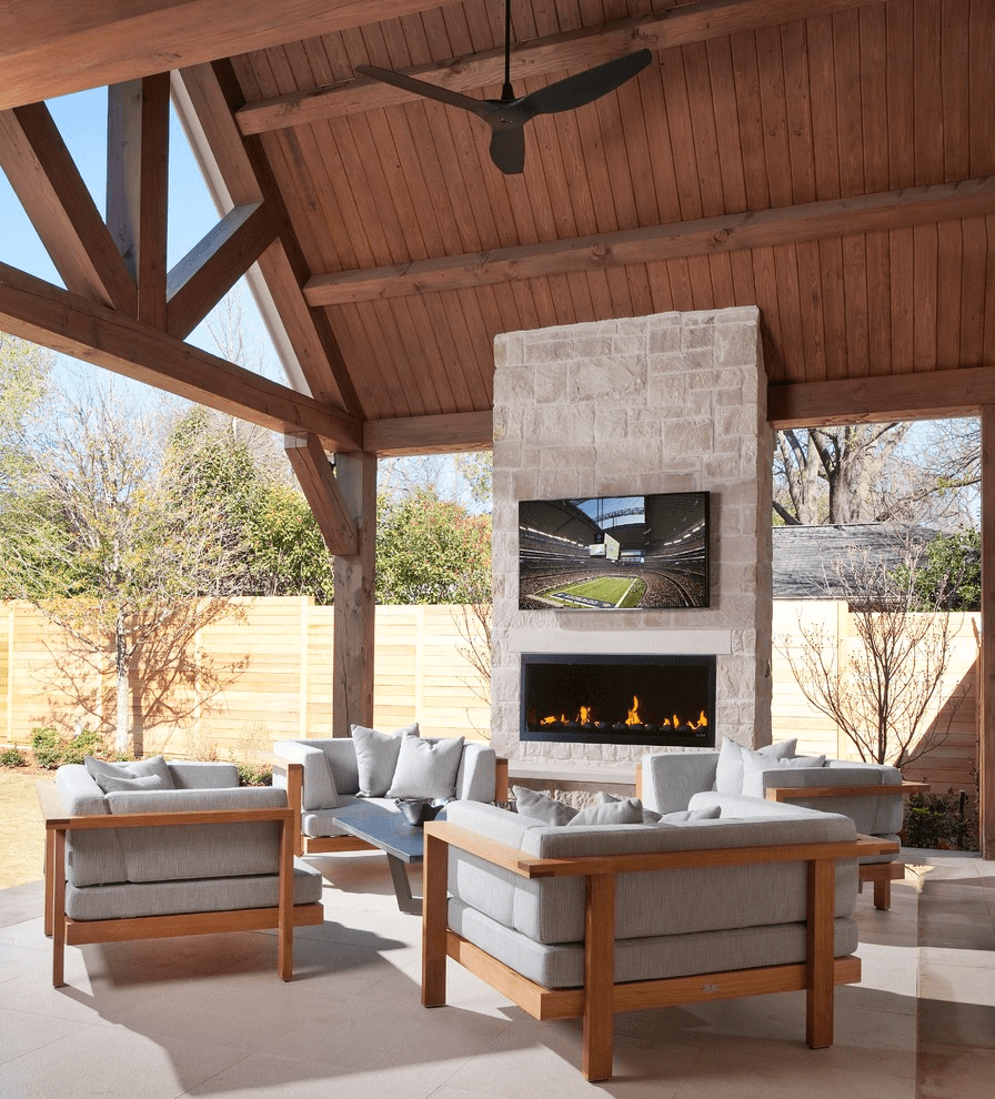 Outdoor fireplace contemporary patio