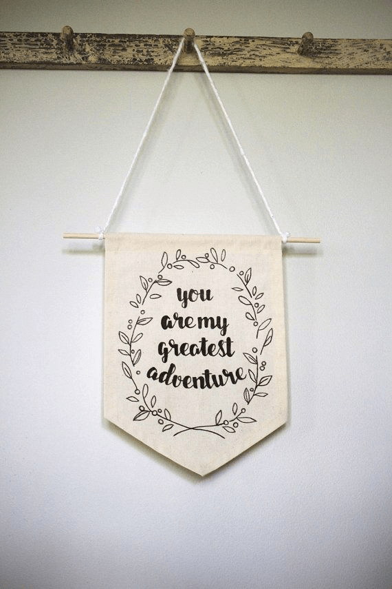 Textile pennant decor wall hangings with quotes