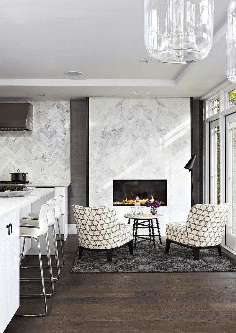 White marble contemporary fireplace