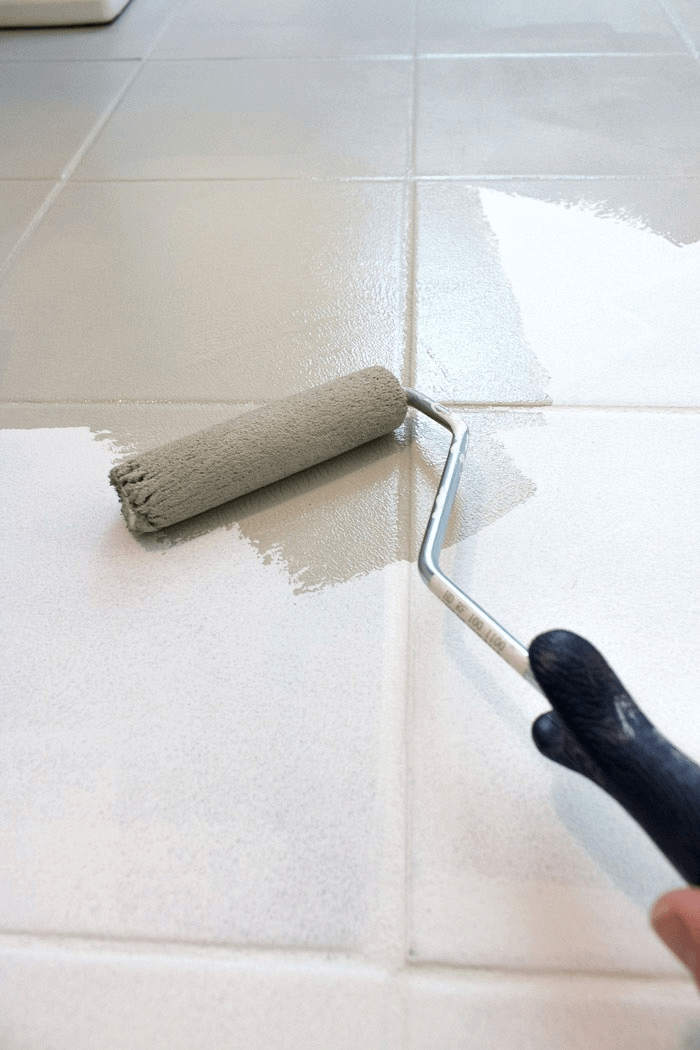 How to paint tile floor with roller brush