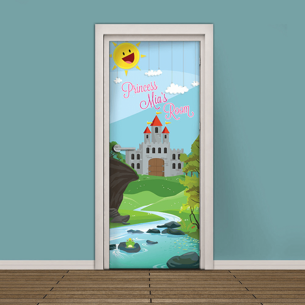 Kids bedroom door decor ideas with sticker picture of palace