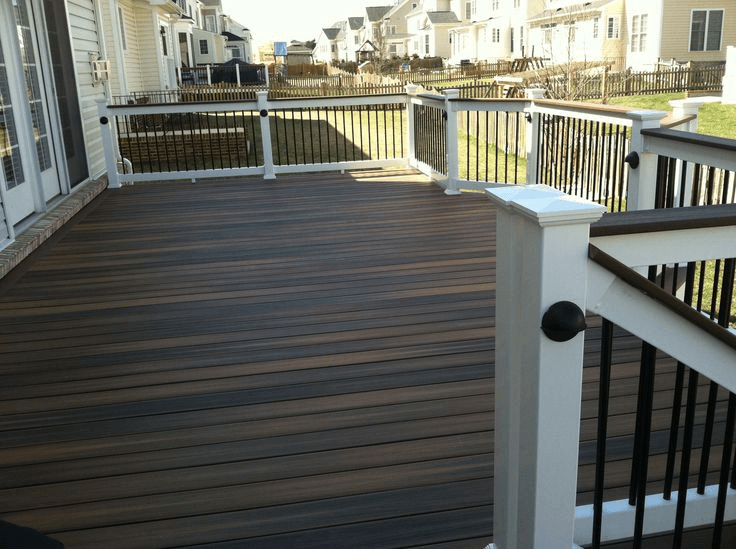 Horizontal Dark Stained porch flooring idea